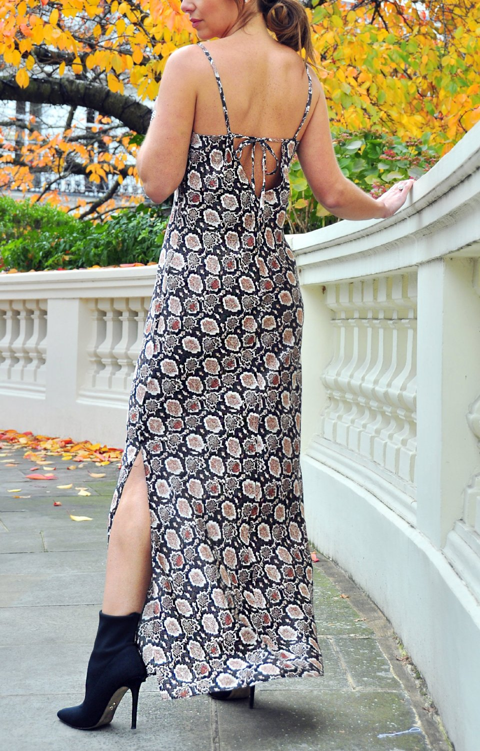Marina Dress in Bronze Python