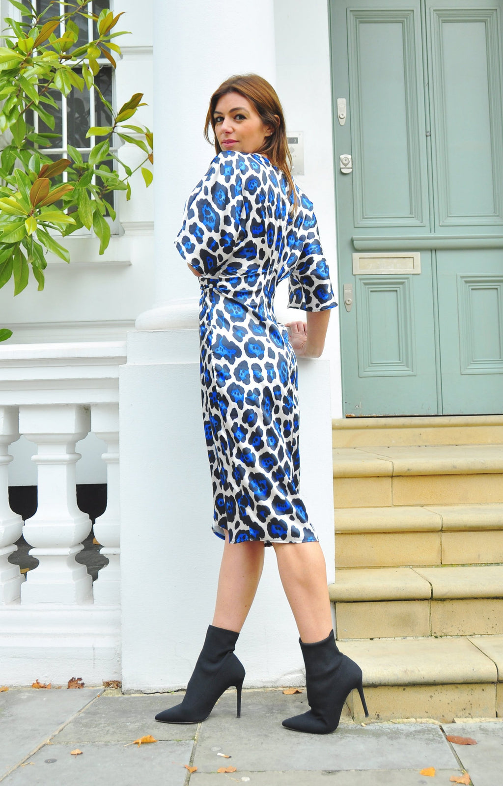 Stefie Dress in Blue Leopard