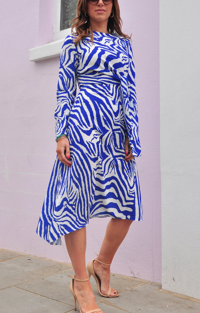 Load image into Gallery viewer, Thea Dress in Zebra Blue