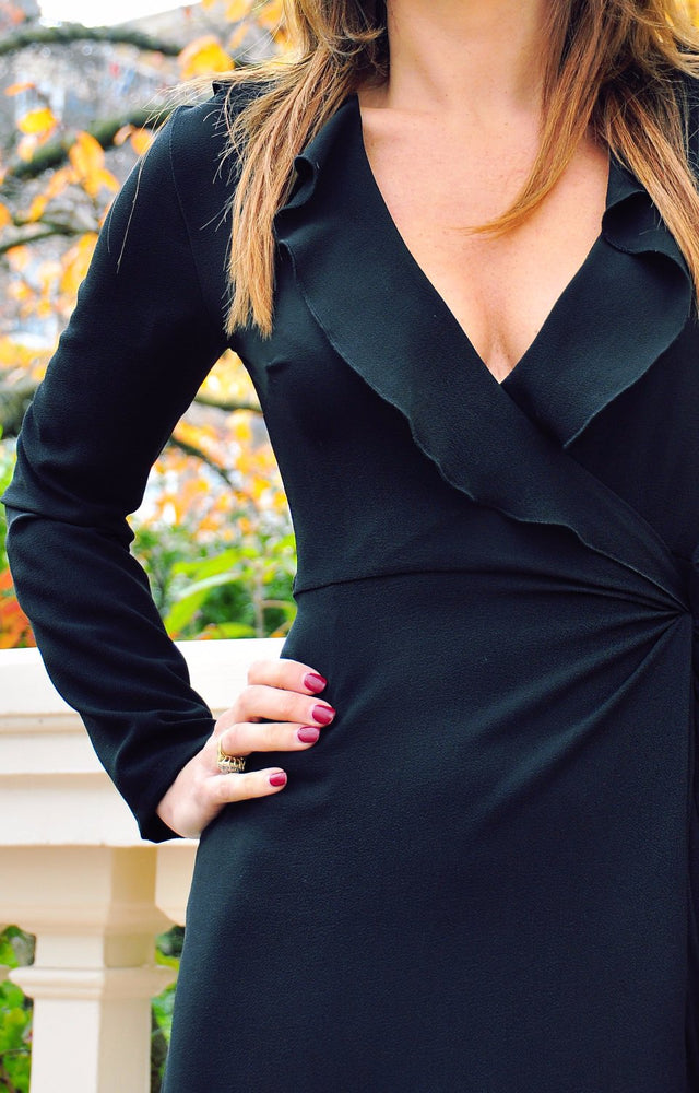Load image into Gallery viewer, Twilight Black Wrap Dress