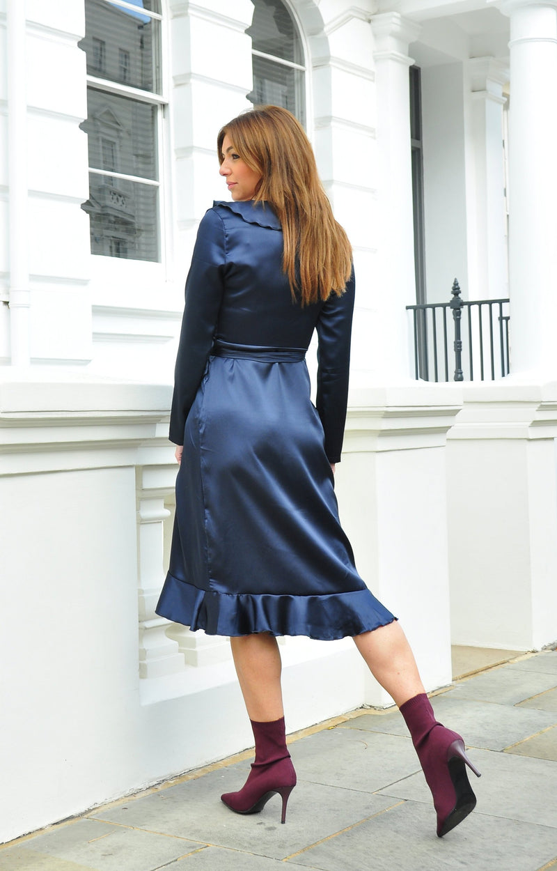 Twilight Midnight Wrap Dress in Luxe Satin