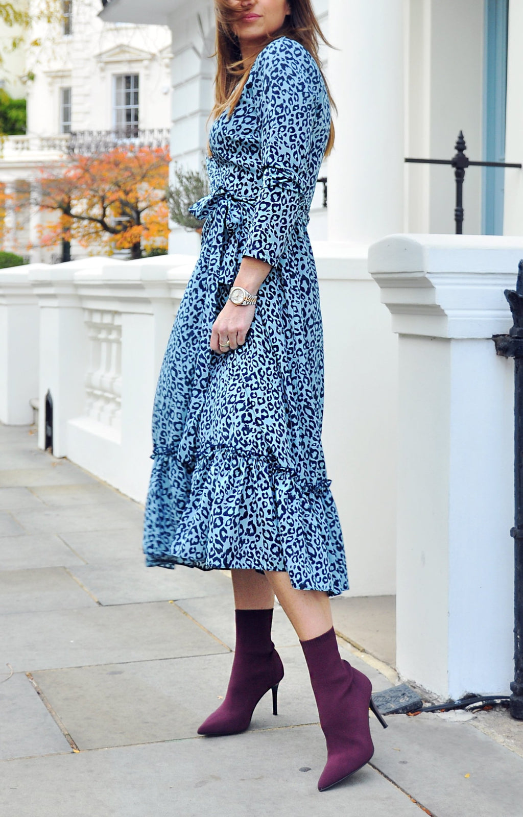 Darcy Wrap Dress in Denim Spot Cheetah