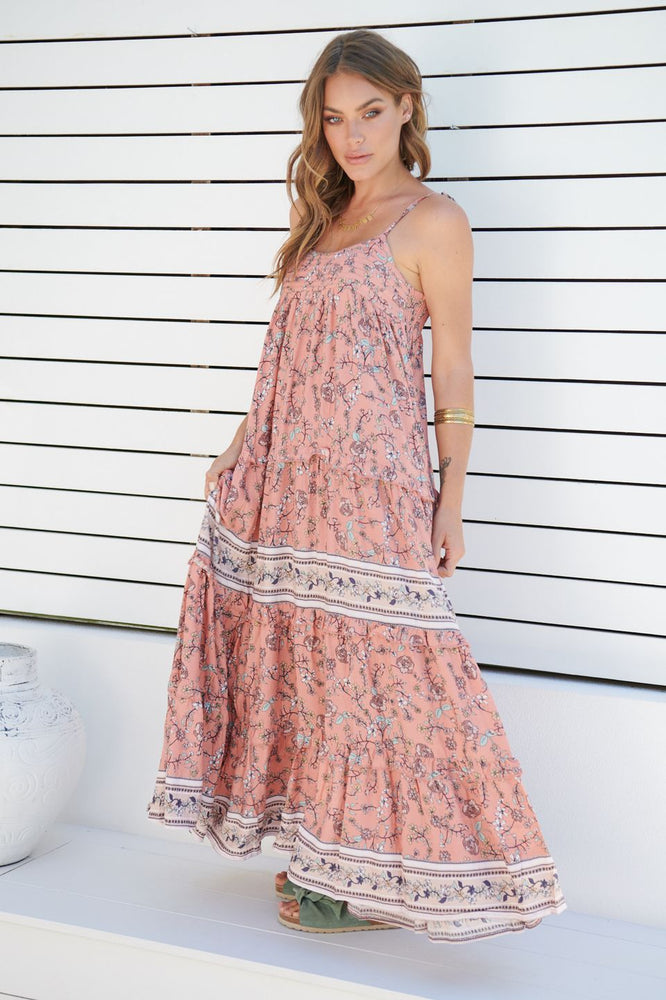 JA Sherbet Print Cognac Maxi Dress