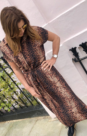 Miller Dress in Bronze Cheetah