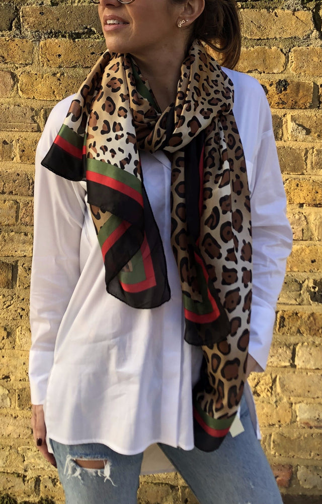 Plaza Scarf Leopard Red Print