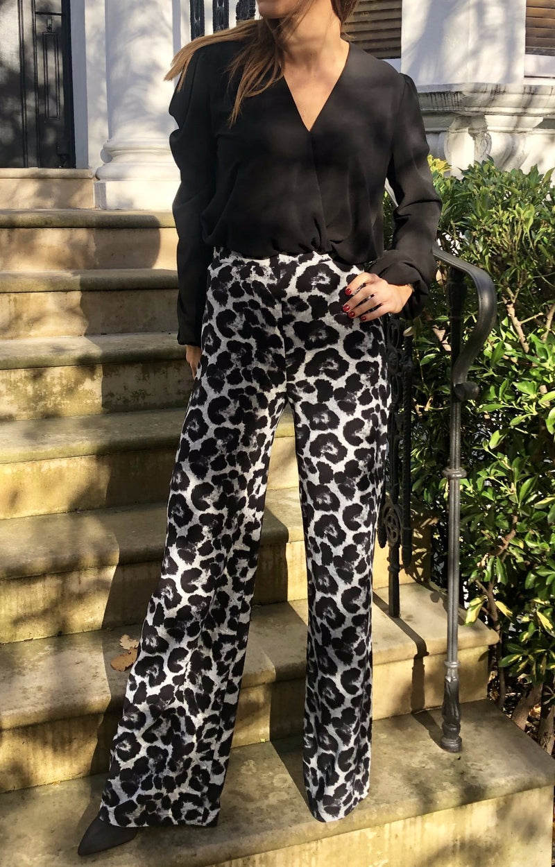 Stella Trousers in Winter Leopard Grey