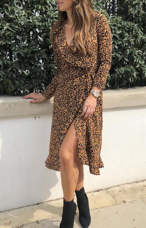 Twilight Tan Spot Cheetah Wrap Dress