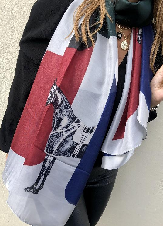 Load image into Gallery viewer, Plaza Scarf Navy Horse Print