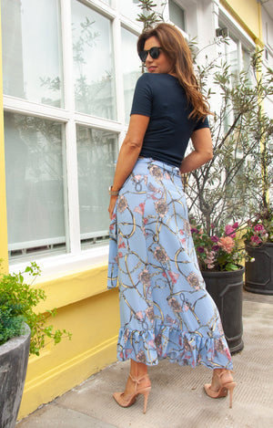 Load image into Gallery viewer, SCARLETT Skirt in Blue Chain Print