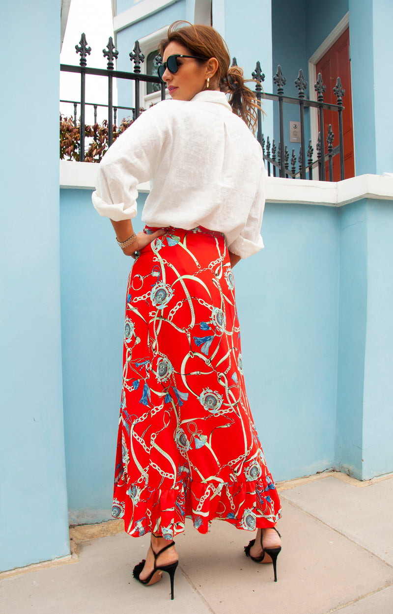 SCARLETT Skirt in Red Chain Print