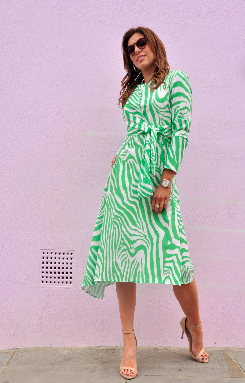 Thea Dress in Zebra Green