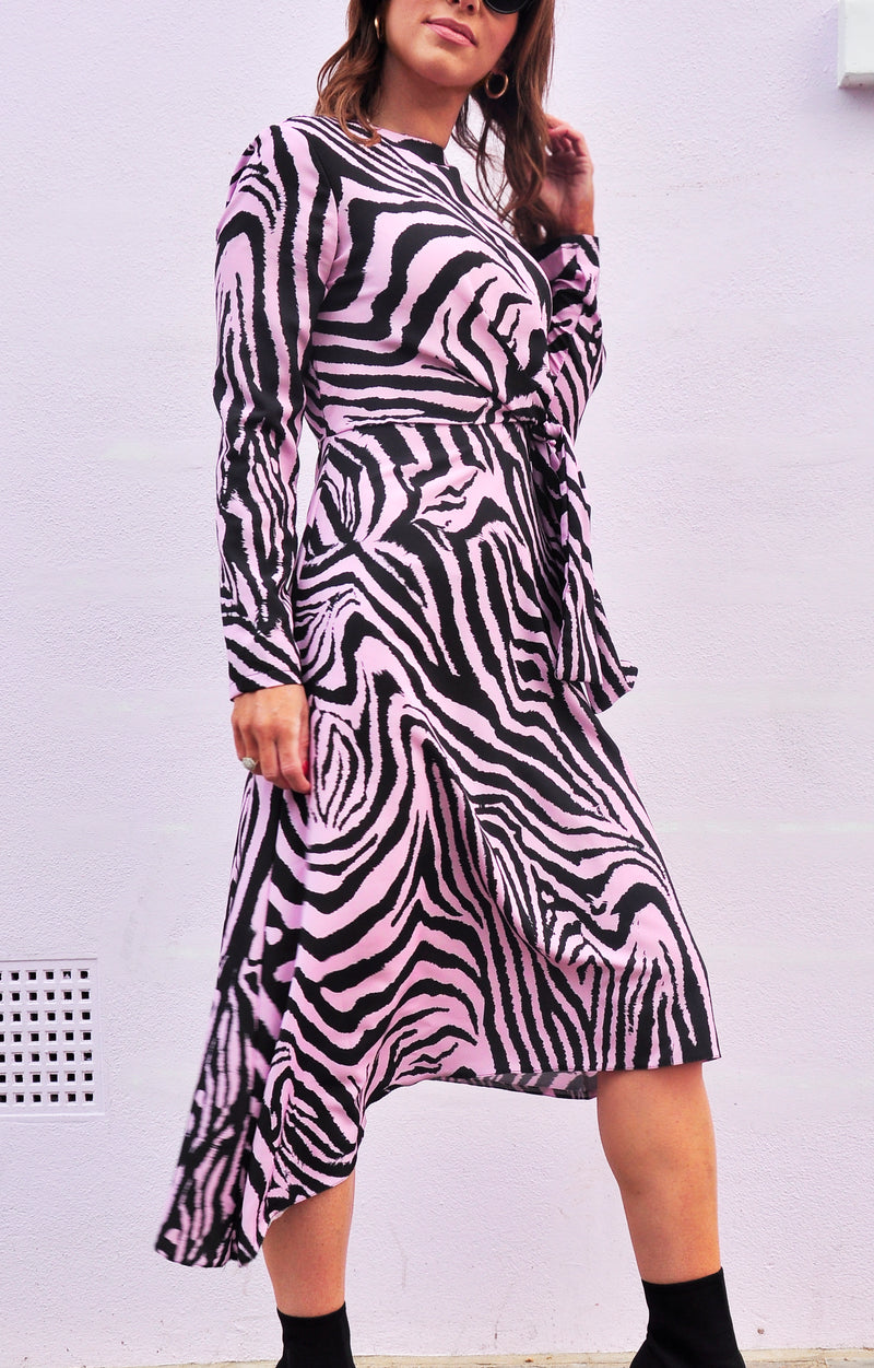 Thea Dress in Violet Zebra