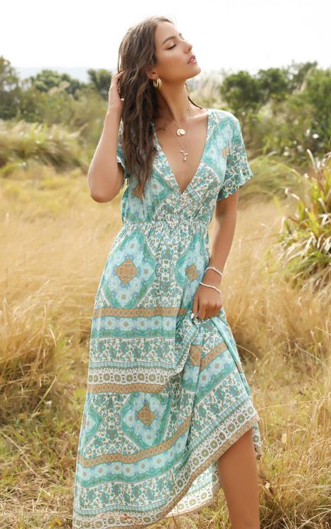 Tile Print Maxi Mint Dress