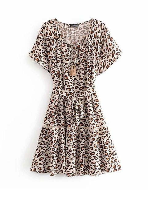 Load image into Gallery viewer, Leopard Swing Mini Dress