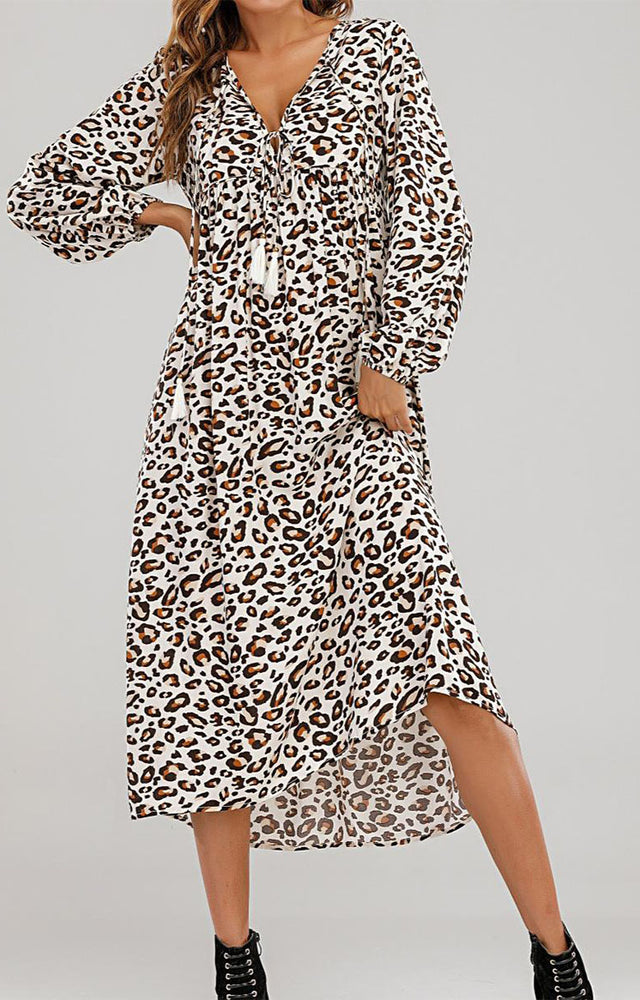 Load image into Gallery viewer, Ivory Leopard Midi Dress