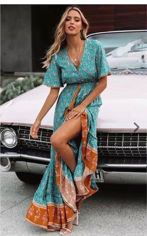 Load image into Gallery viewer, Boho Maxi in Border Print Turquoise