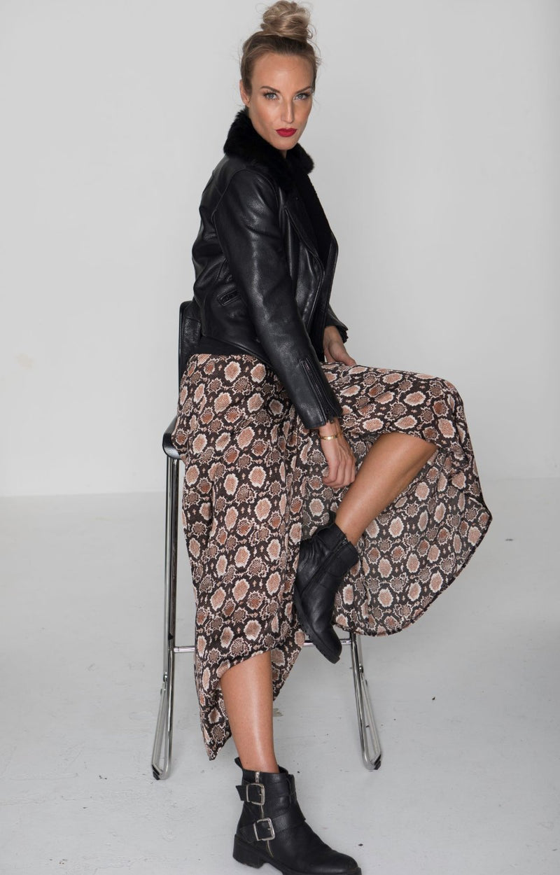 ZAZA SKIRT in Spot Cheetah Tan