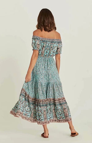 Off-Shoulder Boho Dress Peppermint Print