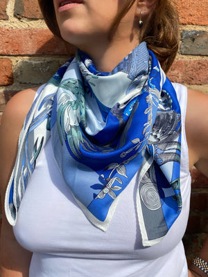 Vintage square scarf in blue