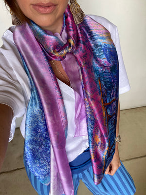 Load image into Gallery viewer, Plaza Scarf Mosaic Lilac Monet