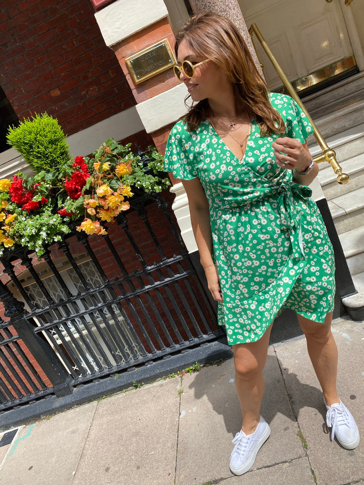 Daisy Print Dress Green
