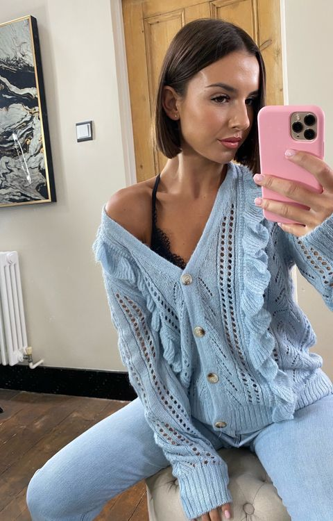 Load image into Gallery viewer, Angel Knit Cardi Powder Blue