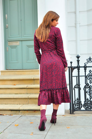 Darcy Wrap Dress in Wine Cheetah