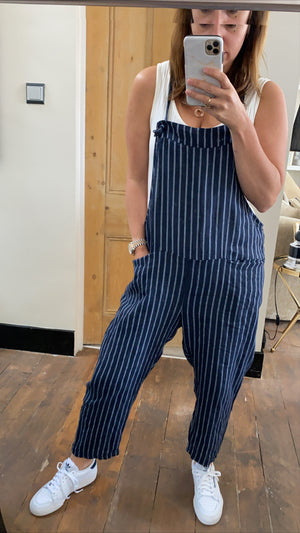 Linen Dungarees - Rose pink