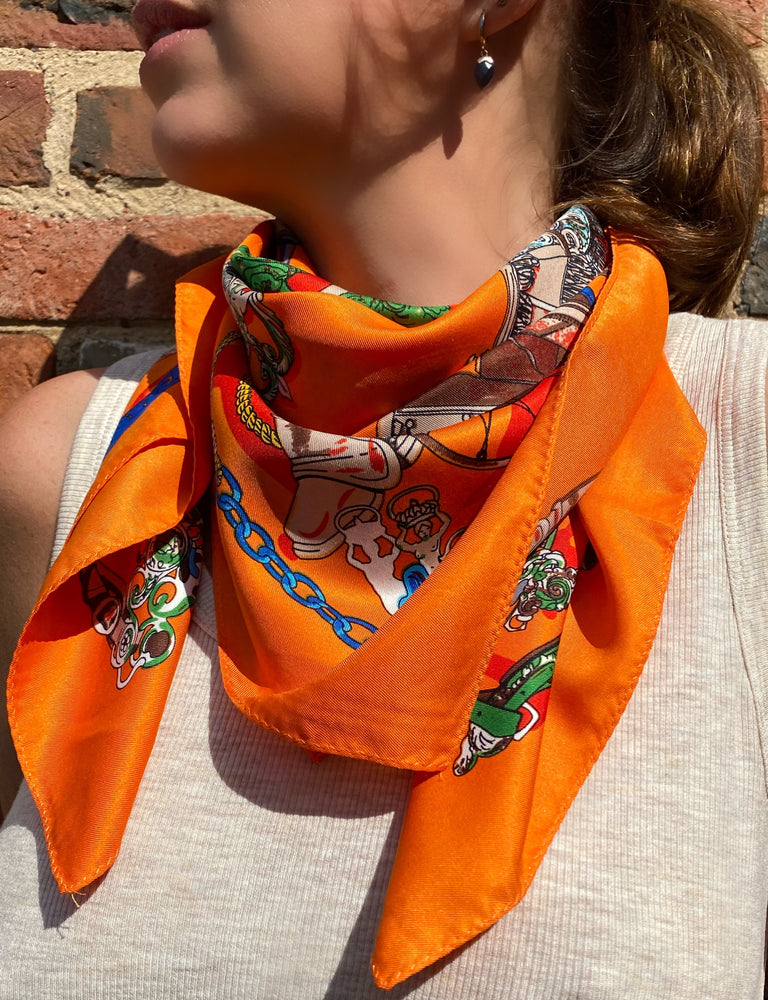 Load image into Gallery viewer, Vintage square scarf in orange