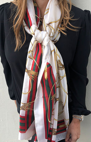 Load image into Gallery viewer, Plaza Scarf Cream Buckle & Tassle