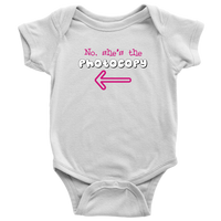Twin Girls Infant One-Piece Body Suit (Part of Set) - No, She's the Photocopy