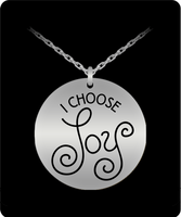 I Choose Joy Necklace Circular Stainless Steel Pendant