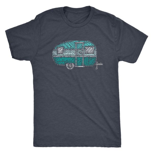 Love Camping RV Shirt - Cute Vintage Trailer in Shades of Blue/Green