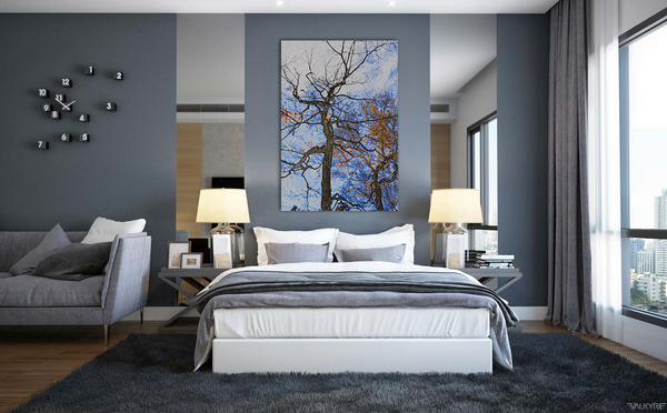 Tree Fall Colors Gallery Wrap Canvas Art Print - Yellow Leaves Blue Sky