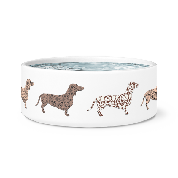 Dachshund Ceramic Dog Food Bowl Dish Doxy
