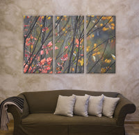 Branches Fall Color Leaves 3-Piece Panorama Canvas Art Print - Red/Pink & Yellow Leaves