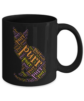 Purr Cat Words Mug Purring Kitty Shape