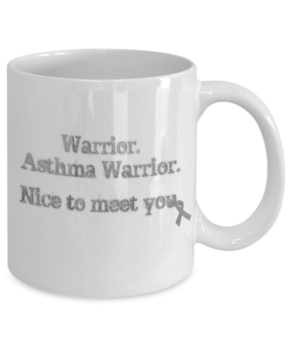 Asthma Warrior Awareness Mug Gray Ribbon