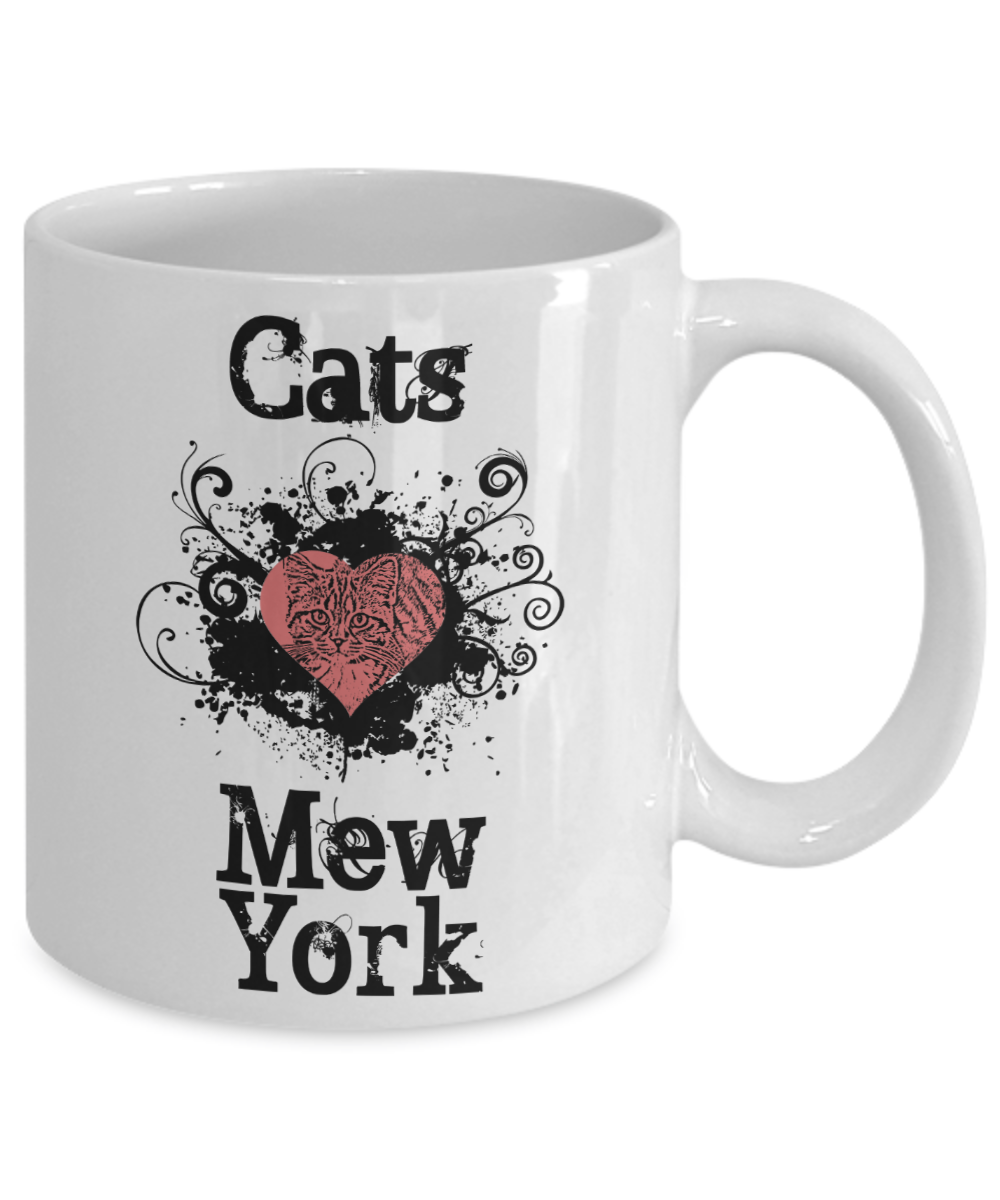 "Cats Heart ""Mew"" York Mug - New Yorker Gift"