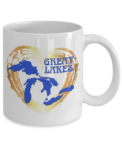 Love Great Lakes Coffee Mug - Gold Heart