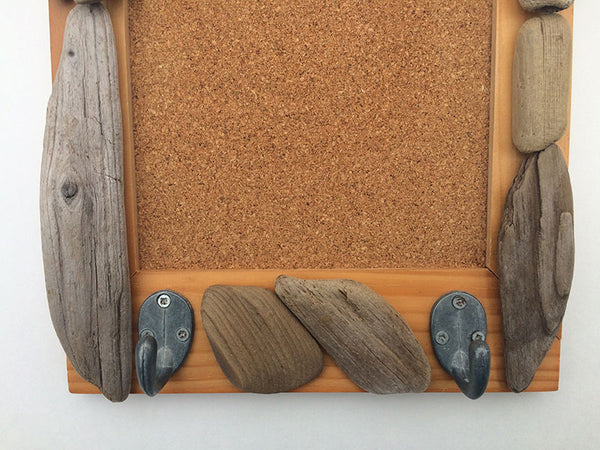 Lake Superior Driftwood Bulletin Board Frame with Hooks