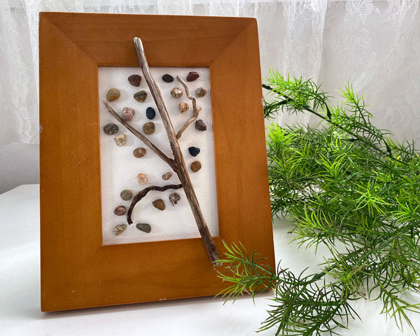 Tree of Rocks in Wood Frame