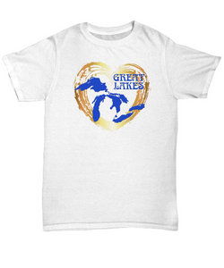 Love Great Lakes Shirt - Gold Heart - Unisex and Women's Styles