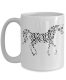 Love Horses Mug - Black and White Flowers