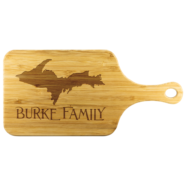 "Yooper Cutting Board with Handle for Upper Michigan Residents - 11.5"" x 5.5"" Bamboo Laser Engraved"
