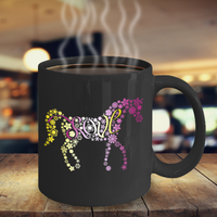 Love Horses Mug - Pink Yellow Flowers