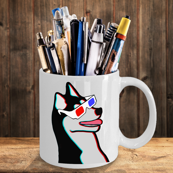 Husky Dog Wearing 3D Glasses Mug