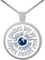Christian Pendant Necklace w/Fruitage of Spirit Scripture