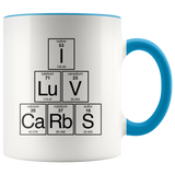 I Love Carbs Mug for Nerd, Scientist, Chemist, Physicist