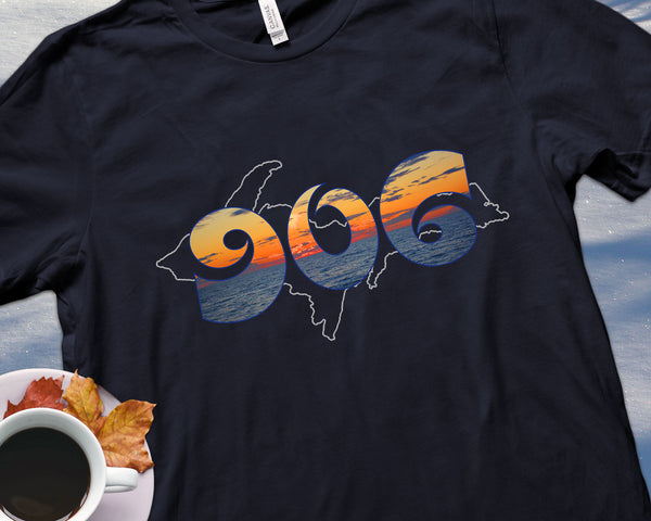 906 Shirt with Lake Superior Sunset | Yooper Gift | Upper Michigan T-shirt